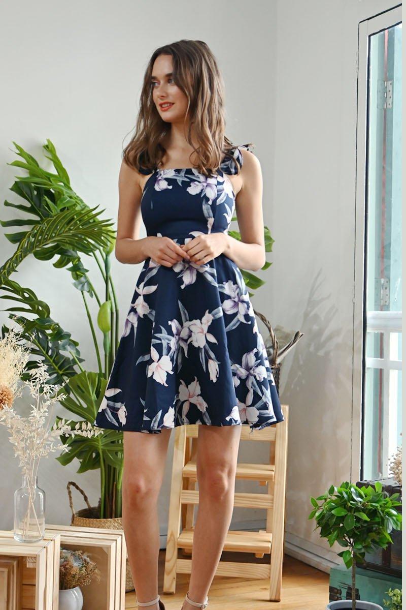Kalilya Floral Ruffles Dress Midnight