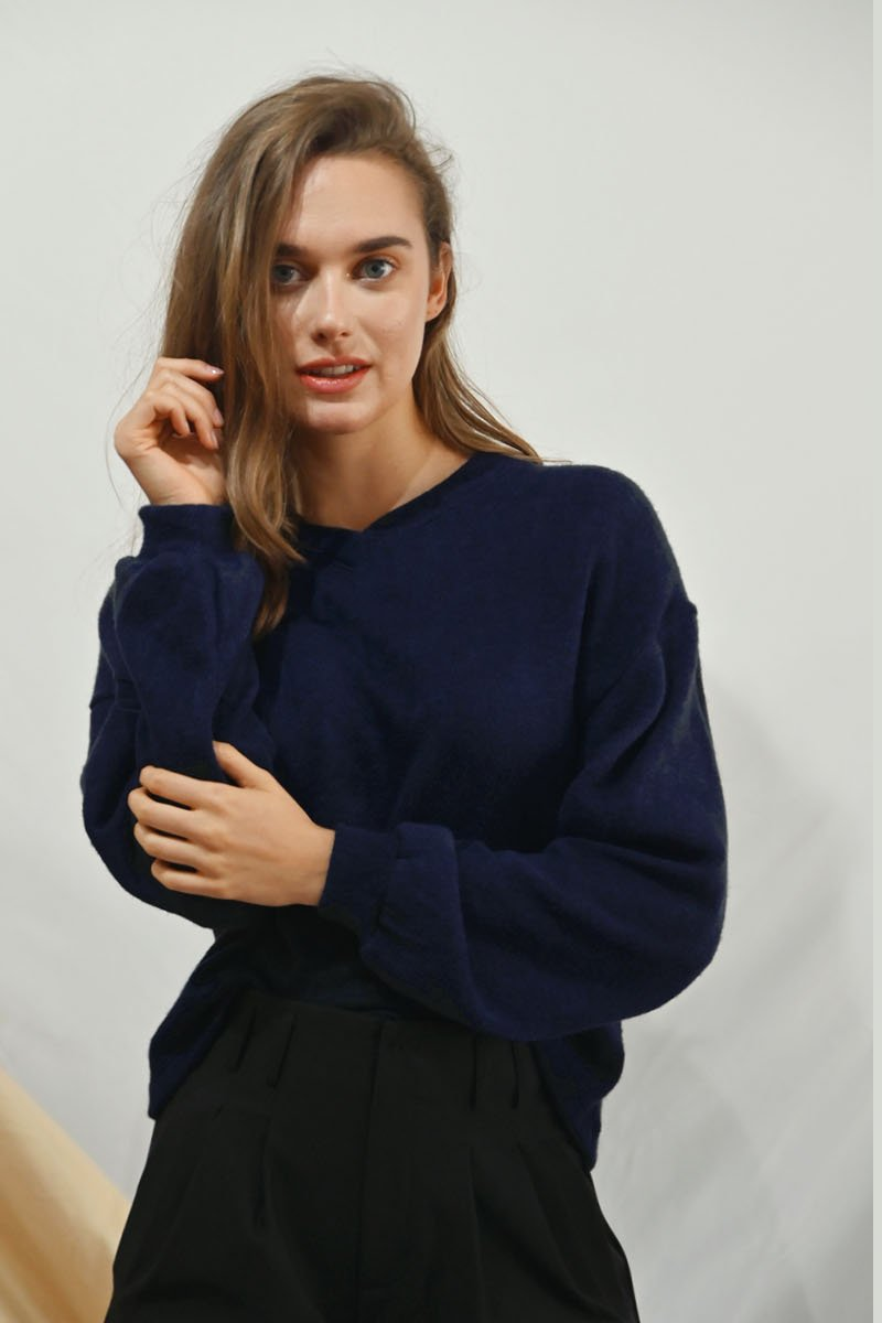 Aliz Drape Sleeves Sweater Midnight