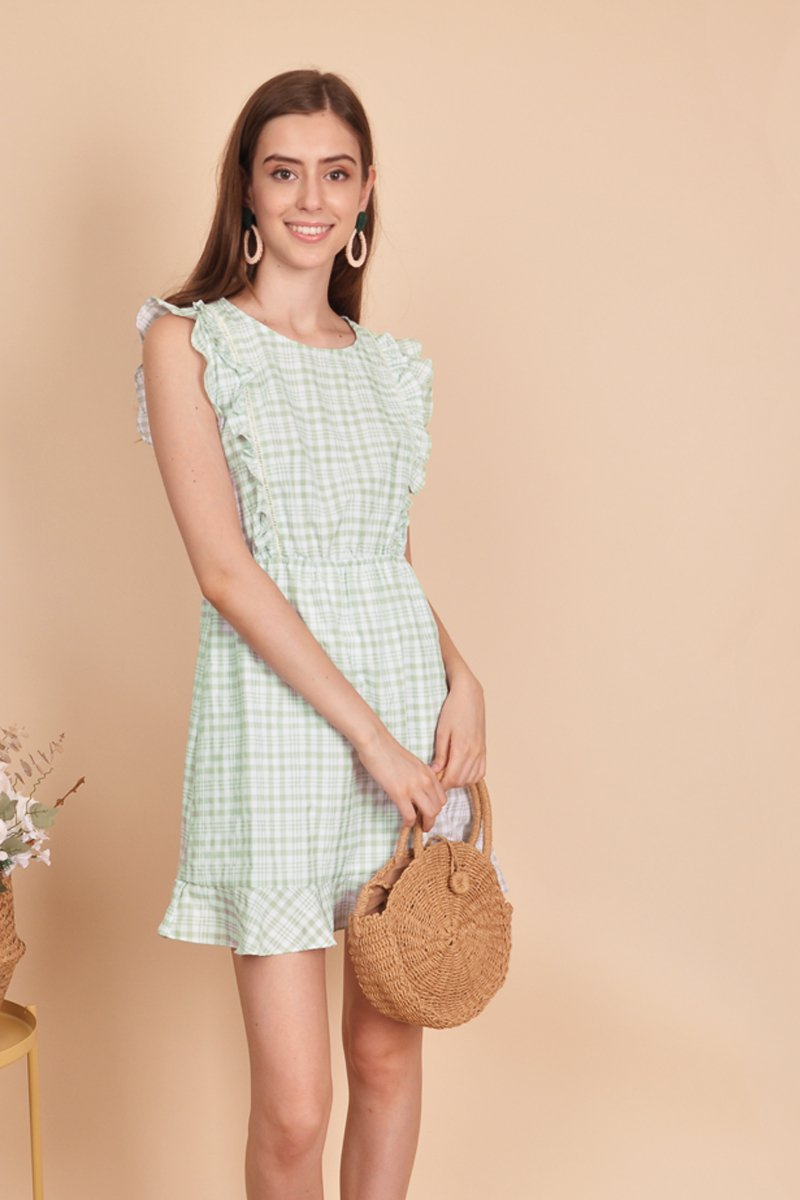 Edita Gingham Frill Trim Dress Mint