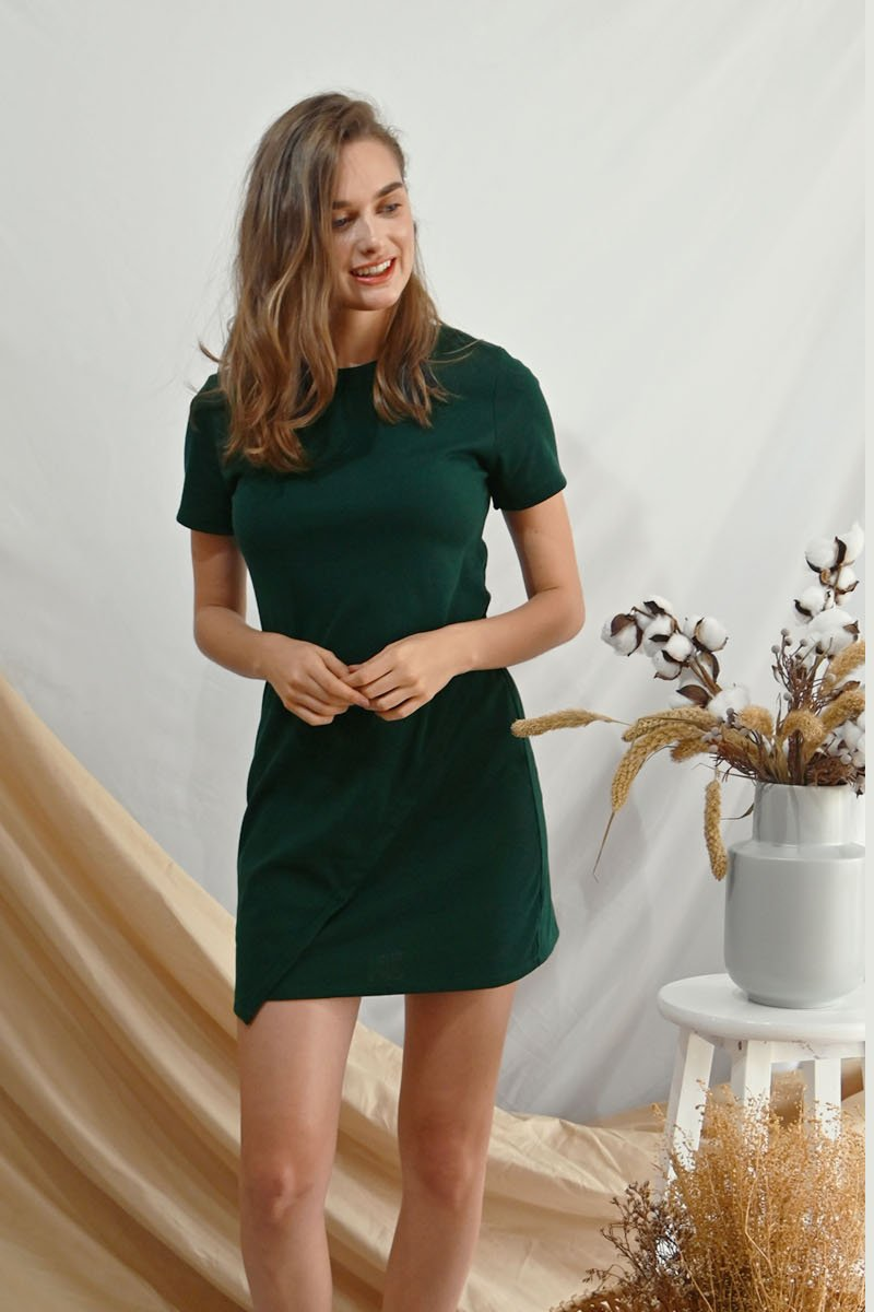 Kiona Asymmetrical Jersey Dress Forest