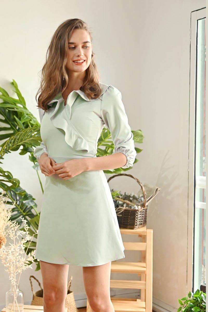 Eline Ruffle Trim Dress Mint