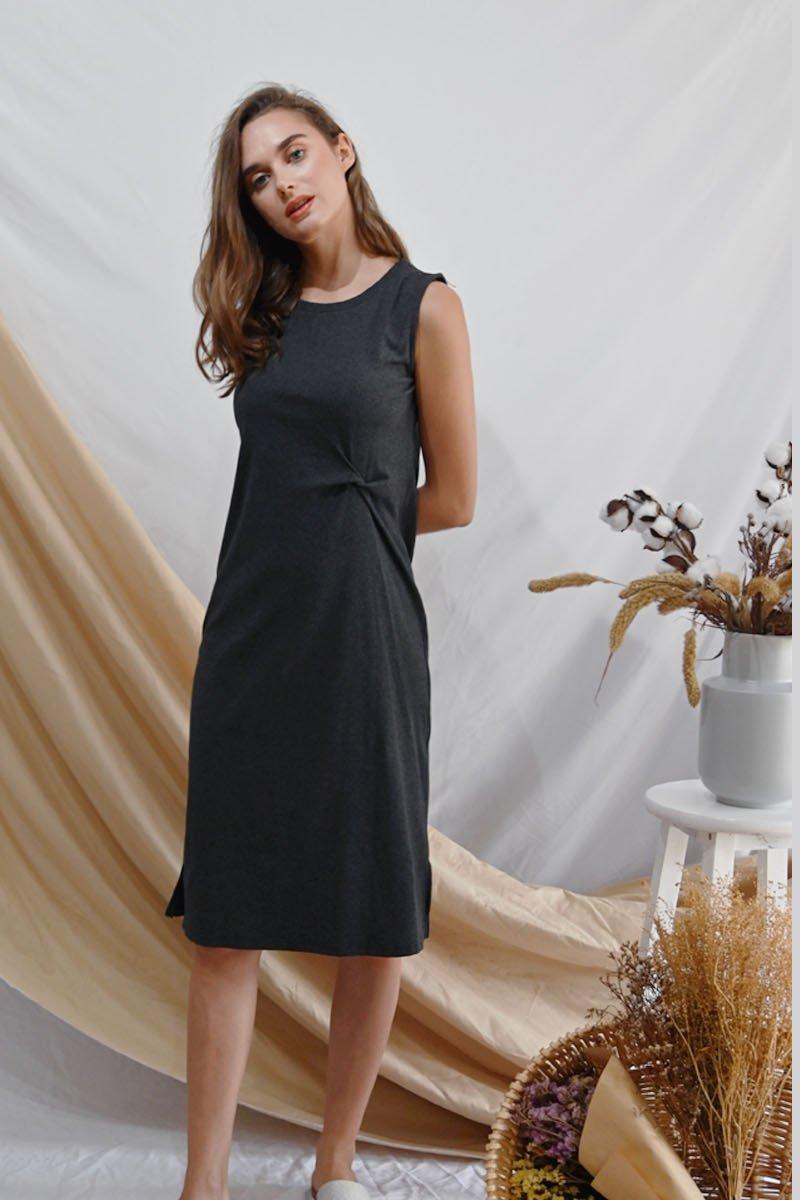 Liona Knotted Midi Dress Grey