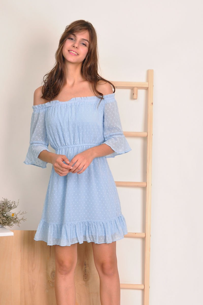 Chimene Off-Shoulder Chiffon Dress Sky
