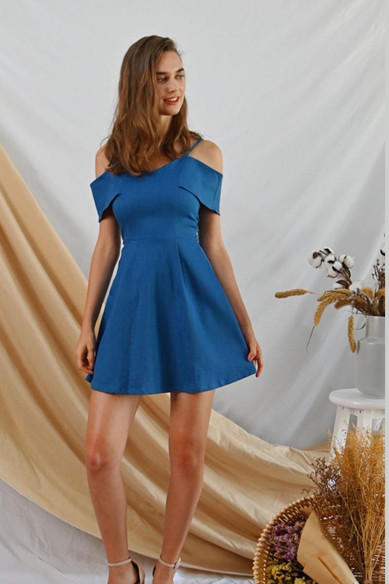 Marien Cold-Shoulder Denim Dress Light