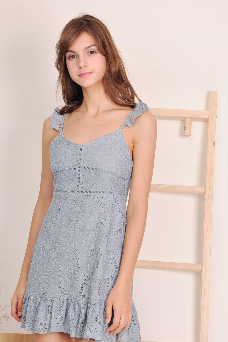 Adira Crochet Lace Overlay Dress Sage