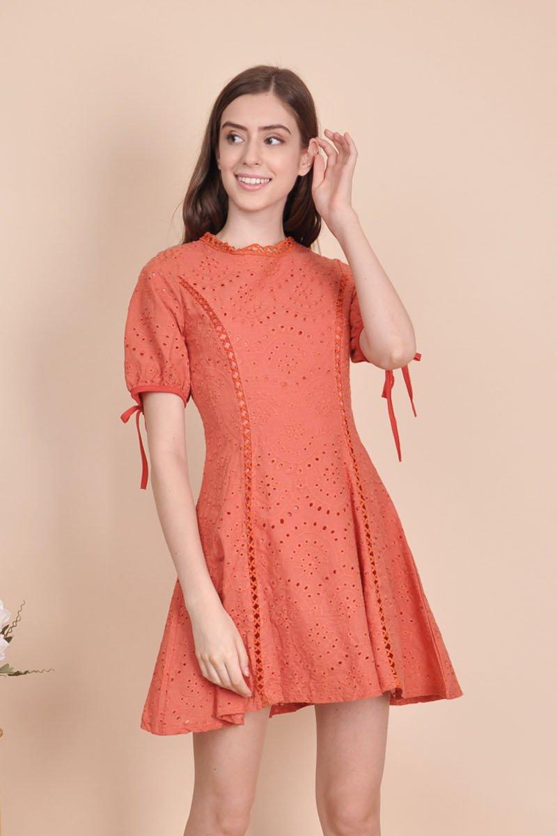 Abrial Puffed Sleeve Eyelet Dress Burnt Orange