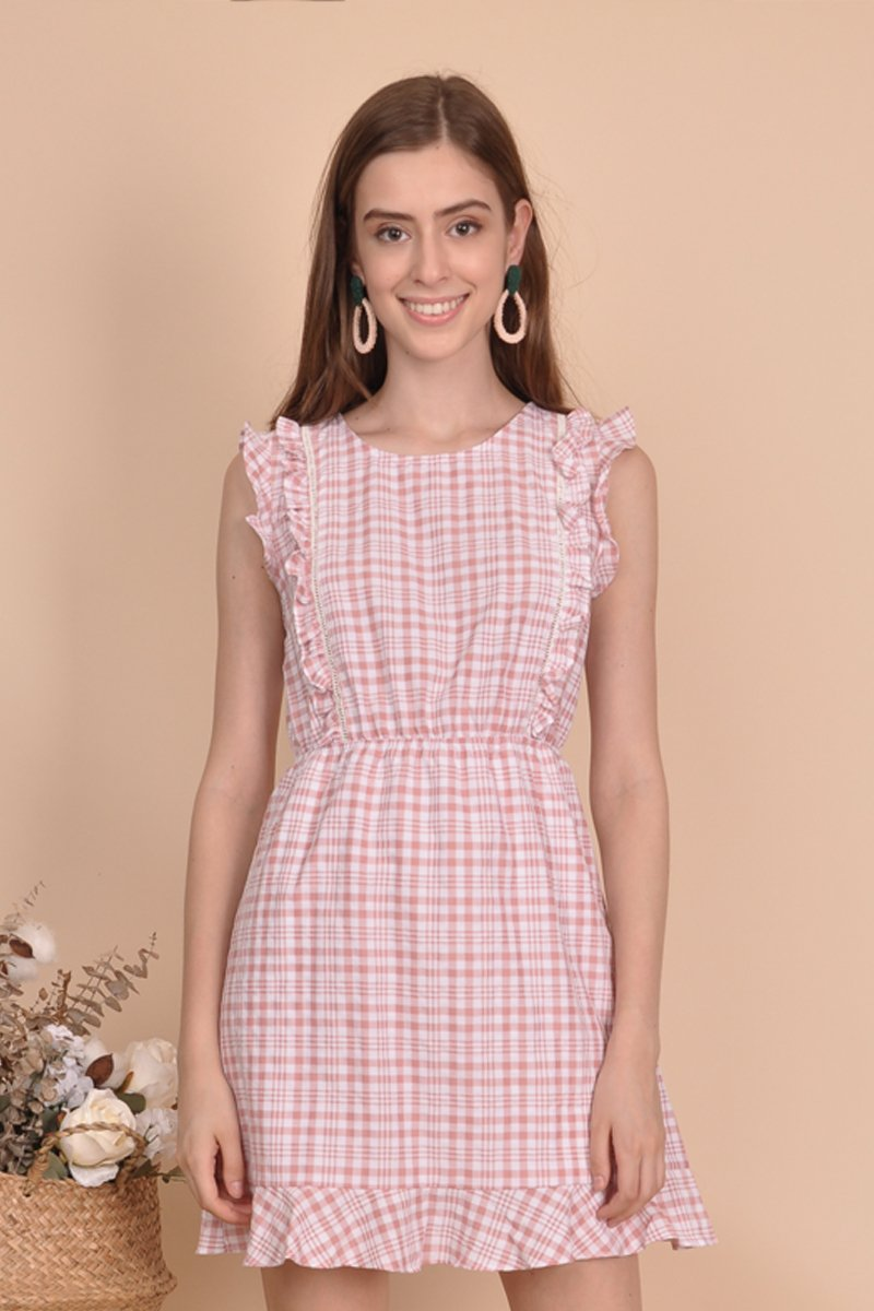 Edita Gingham Frill Trim Dress Blush
