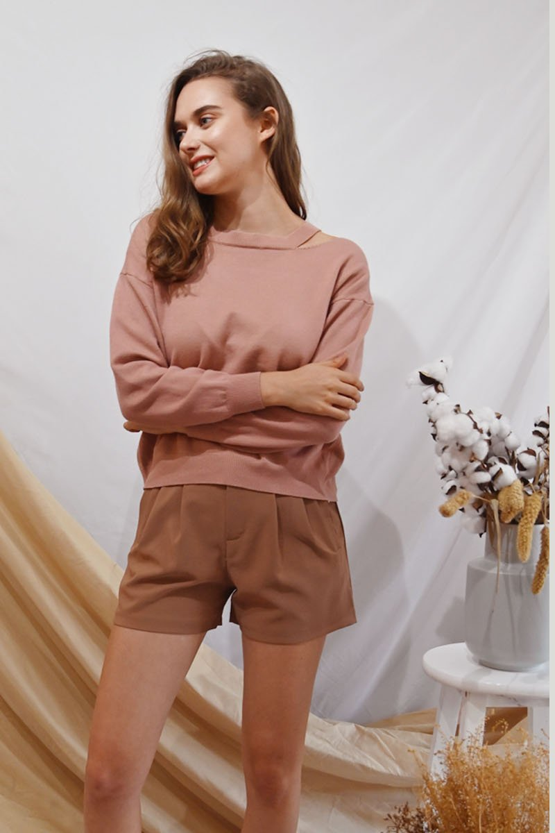 Lucine Knit Lace-Up Pullover Blush