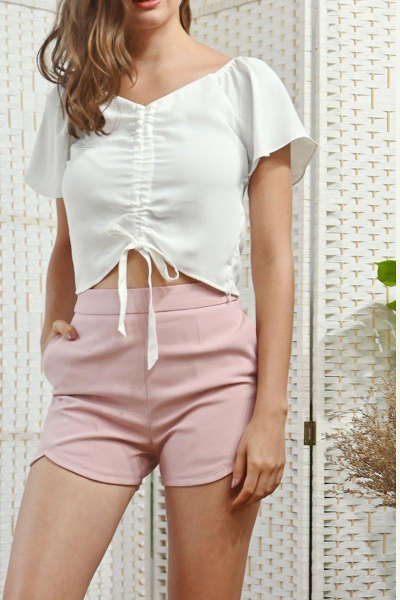 Catrine High-Waisted Shorts Blush