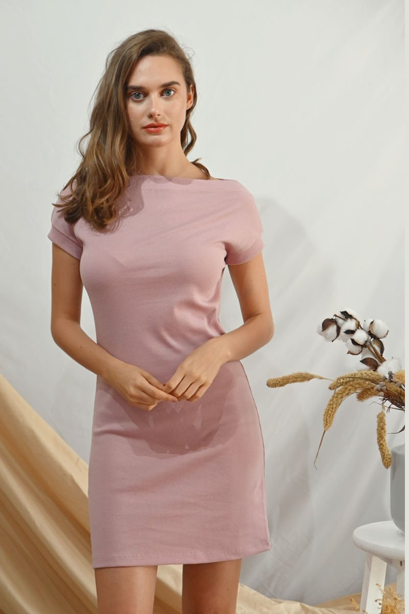 Nascha Ribbed Boat Neck Dress Blush