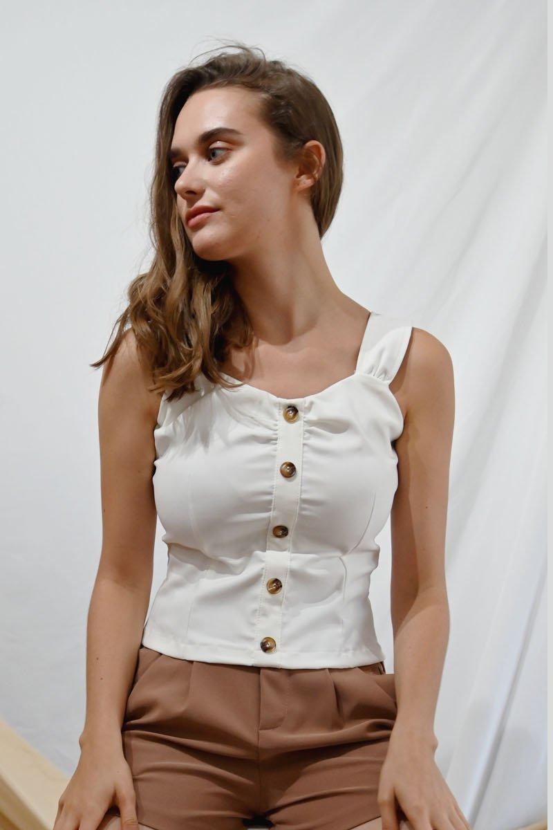 Britta Button Down Top Ivory
