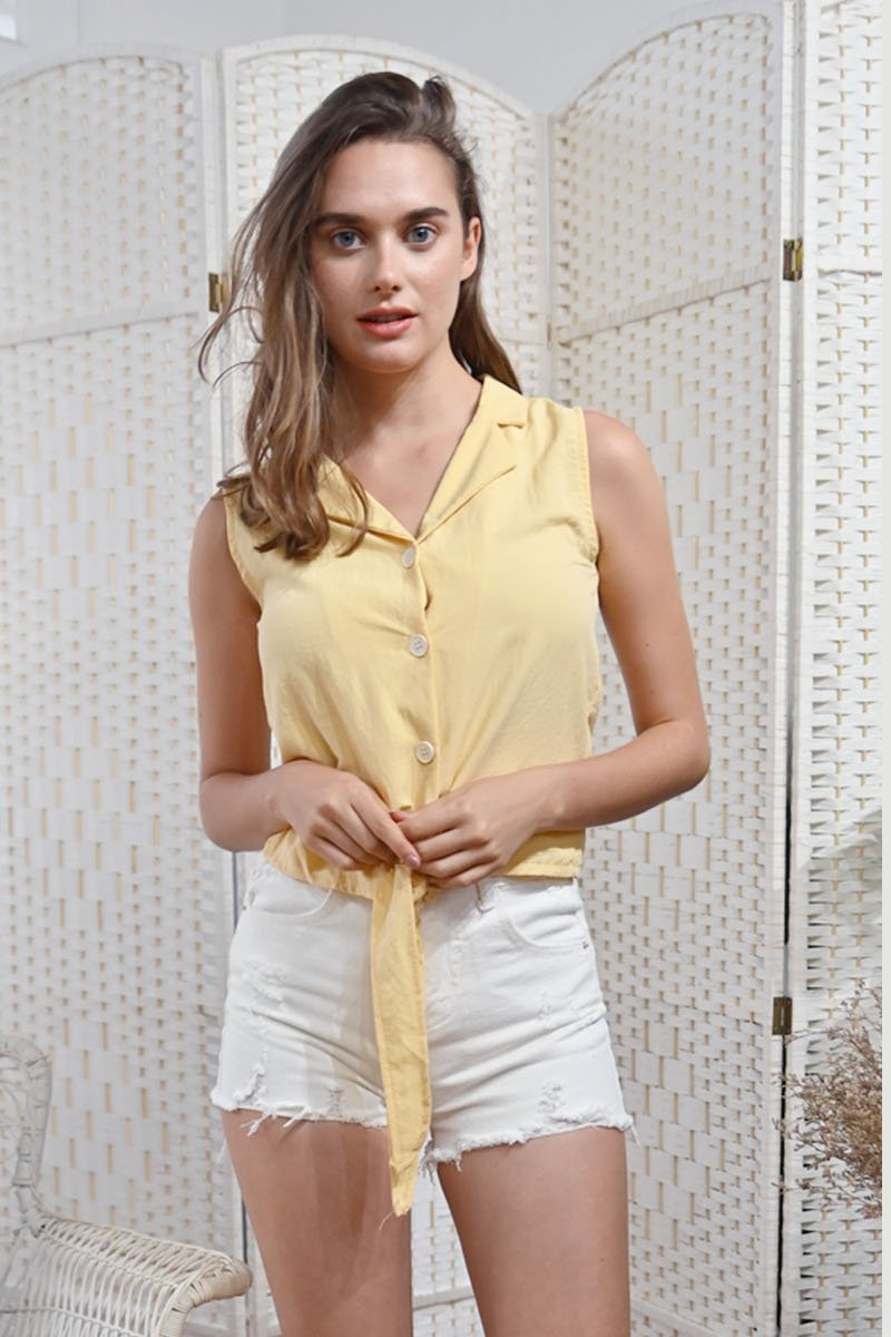 Elissa Sleeveless Front-Tie Shirt Daffodil