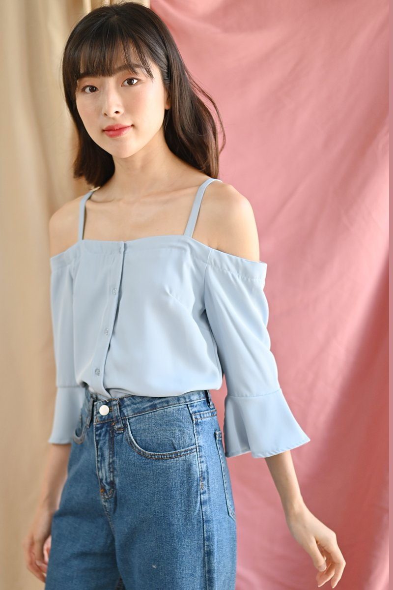 Dervla Cold-Shoulder Top Sky