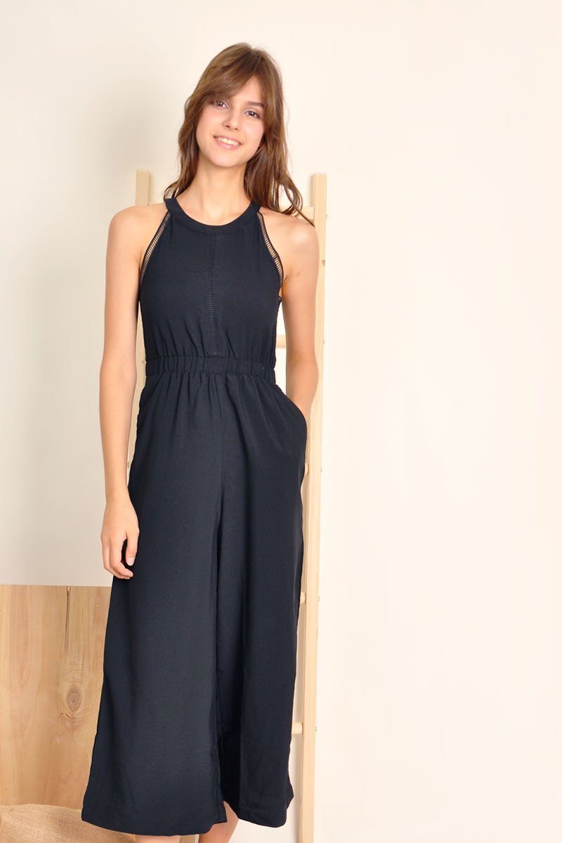 Cosima Crochet Trim Jumpsuit Black