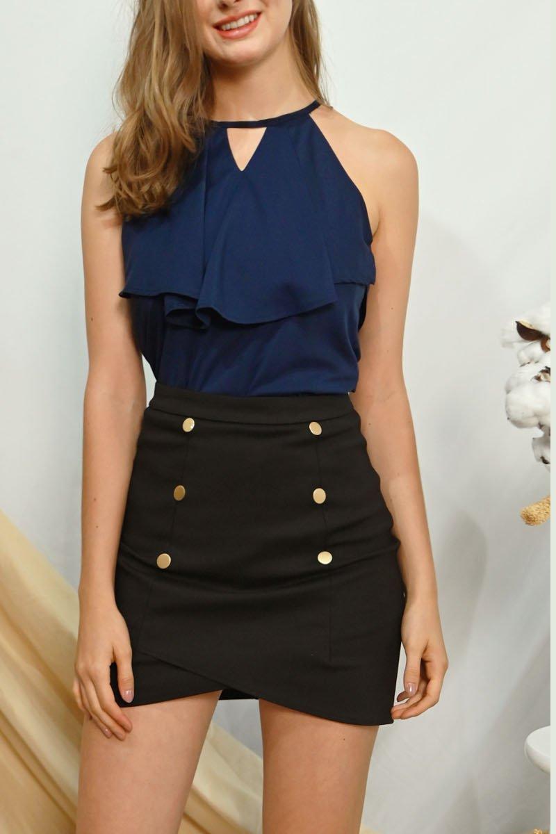 Laure Button Overlap Skirt Black