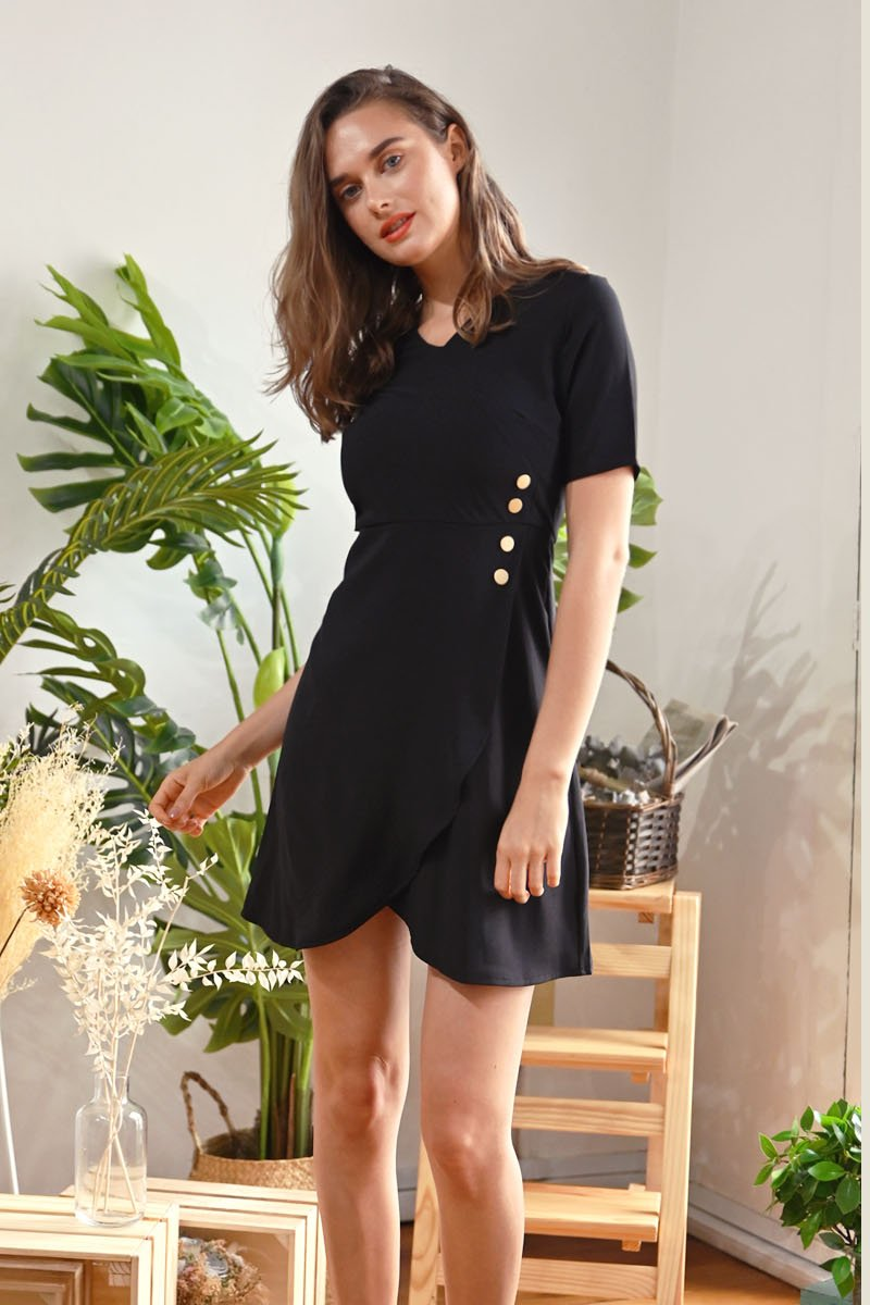 Posie Side Button Overlap Dress Black