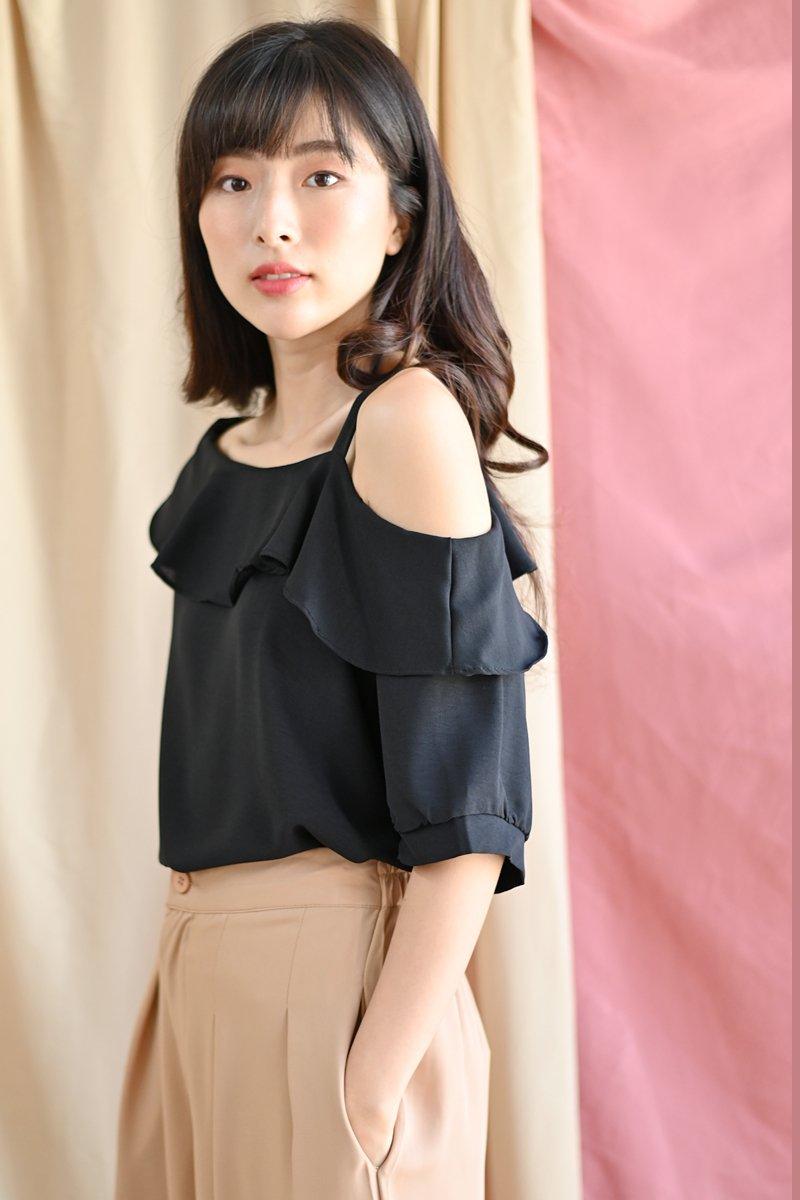 Nelida Cold-Shoulder Toga Top Black