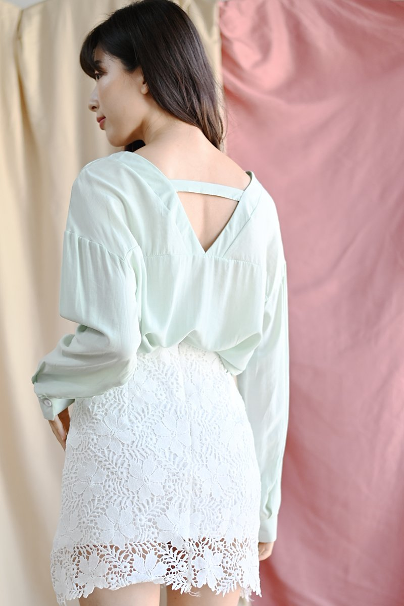 Kaedy Oversized Button Top Mint