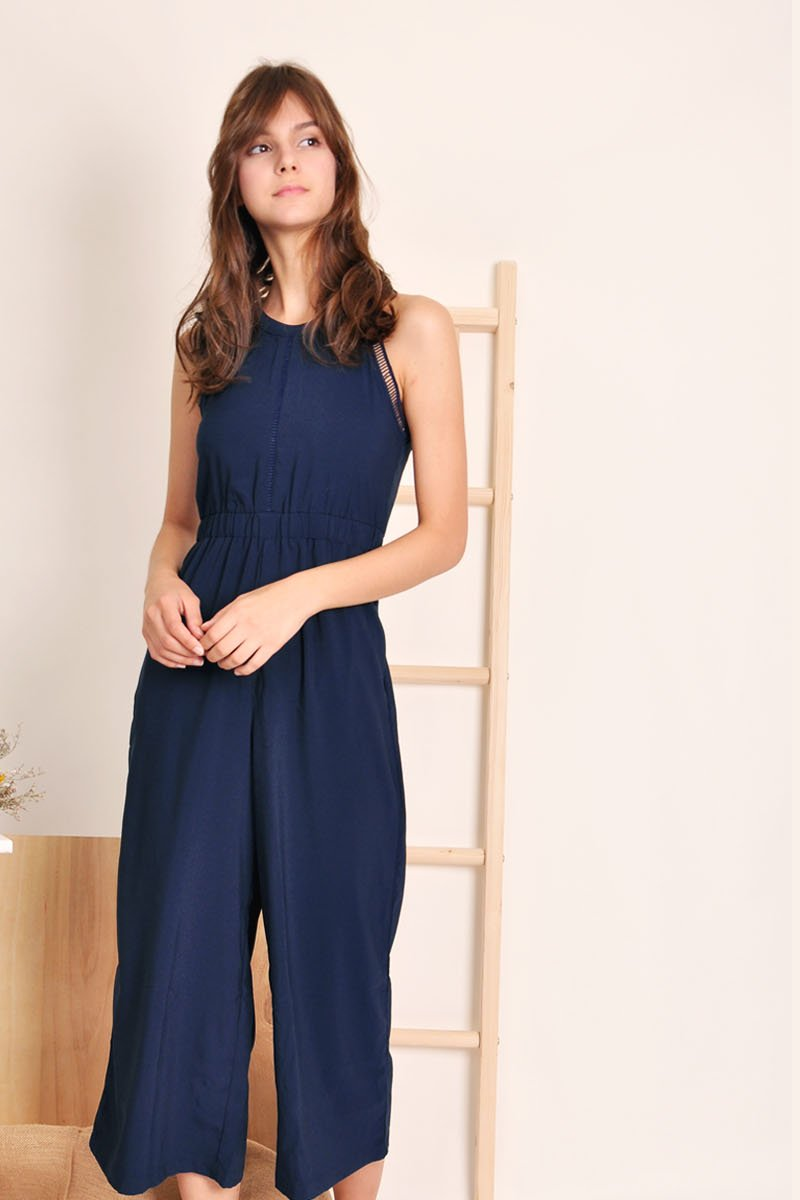 Cosima Crochet Trim Jumpsuit Midnight