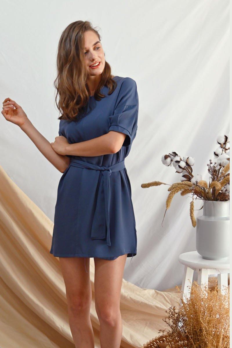 Alaina Loose Shift Dress Steel Blue
