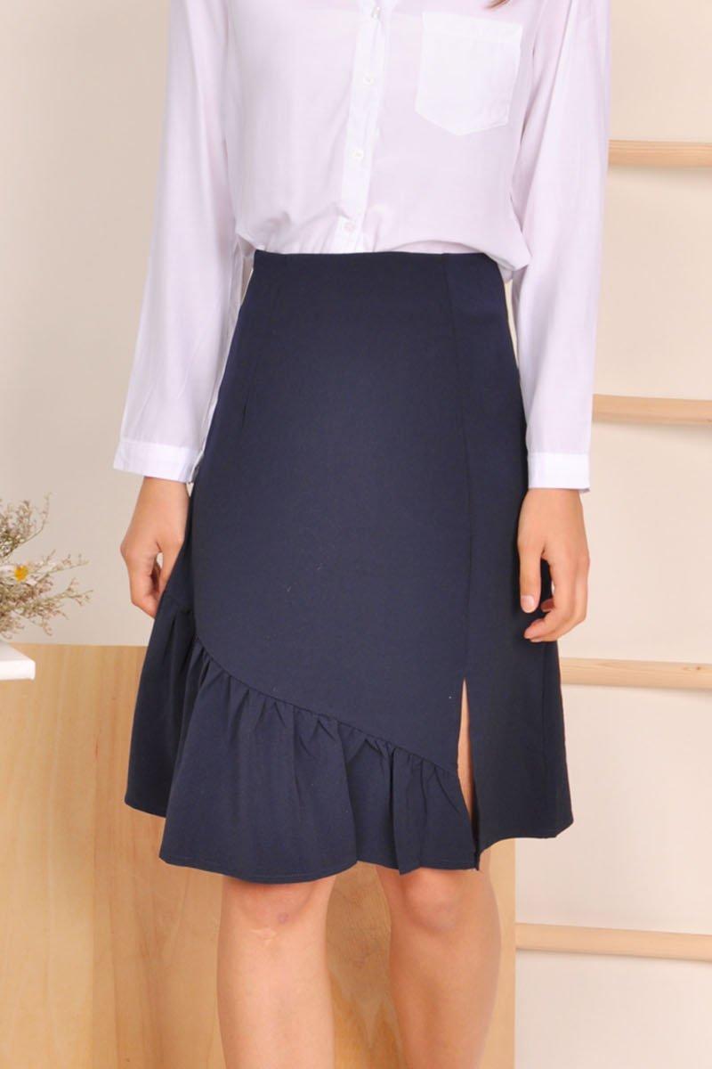 Saoirse Frill Hem Midi Skirt Midnight