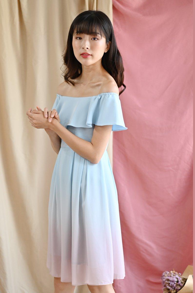 Micaela Ombre Off-Shoulder Dress Sky