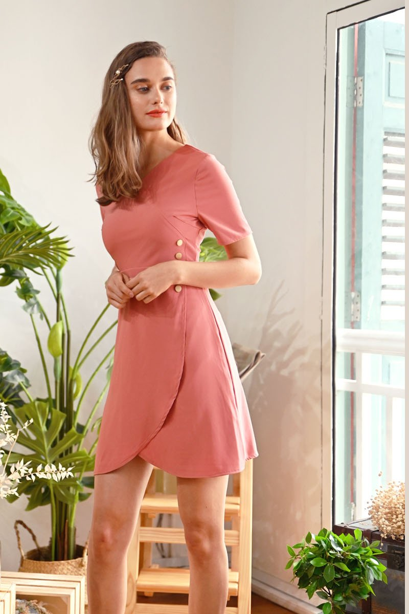 Posie Side Button Overlap Dress Brick