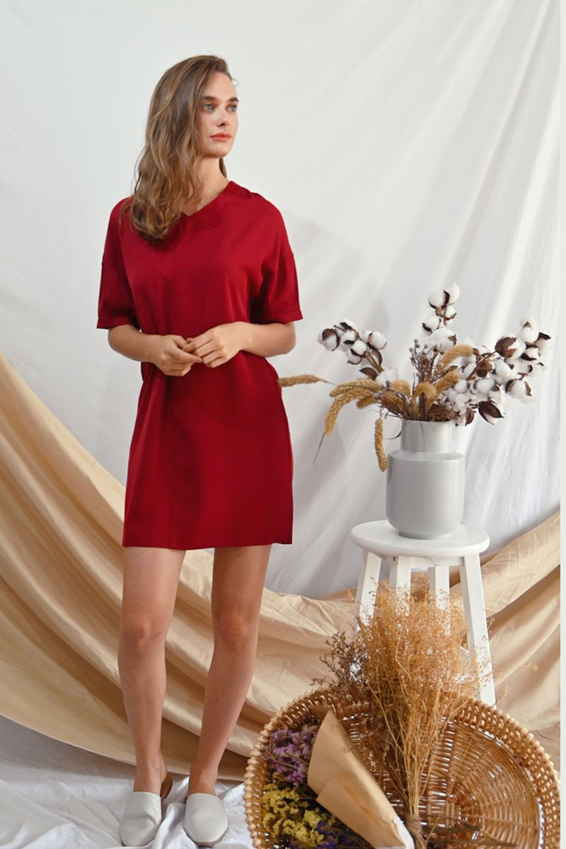 Alaina Loose Shift Dress Wine
