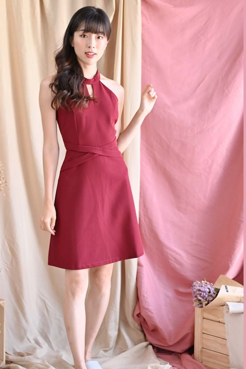 Roxana Halter Cut-Out Dress Maroon