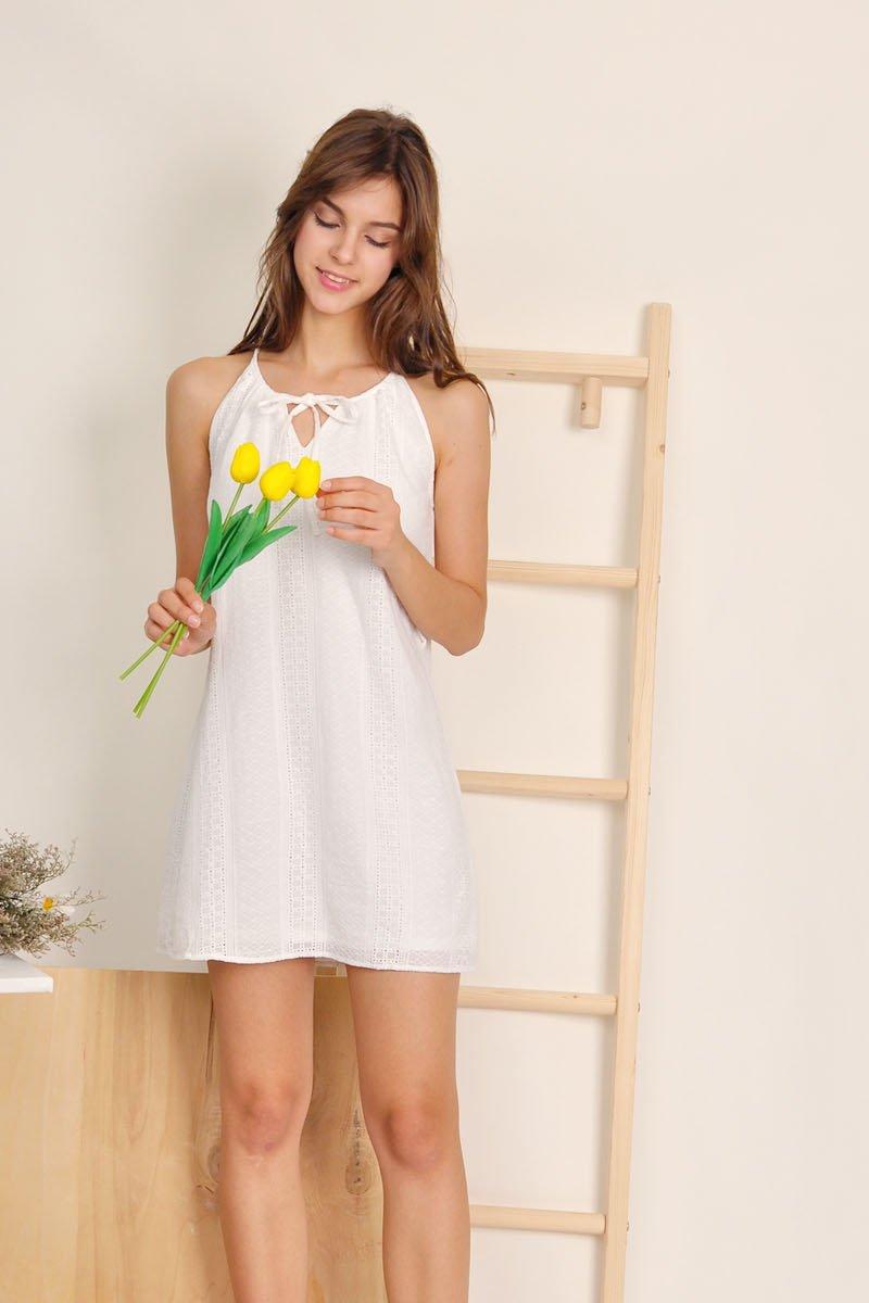 Myrthe Halter Eyelet Dress Ivory