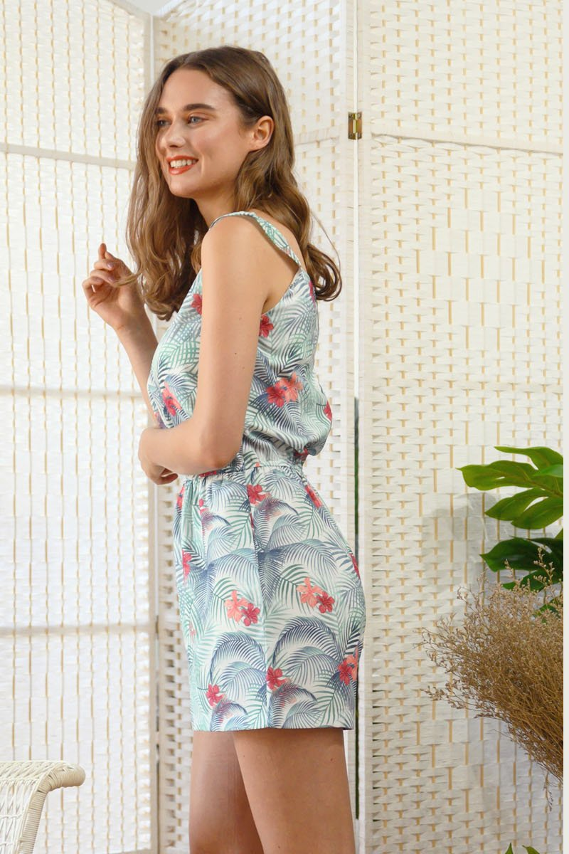 Adah Tropical Print Romper Ivory