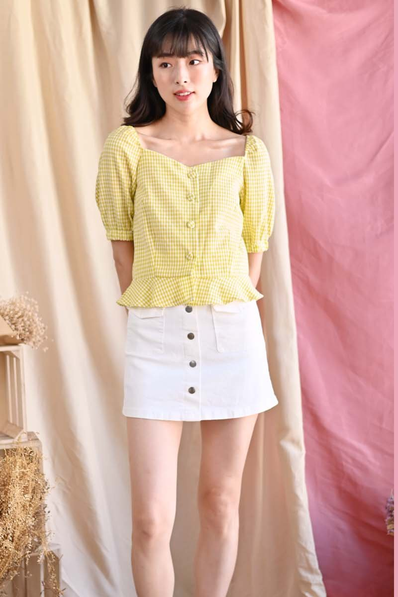 Aida Puff Sleeve Gingham Top Daffodil
