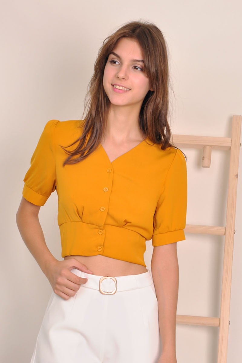 Elodie Smocked Back Top Mustard