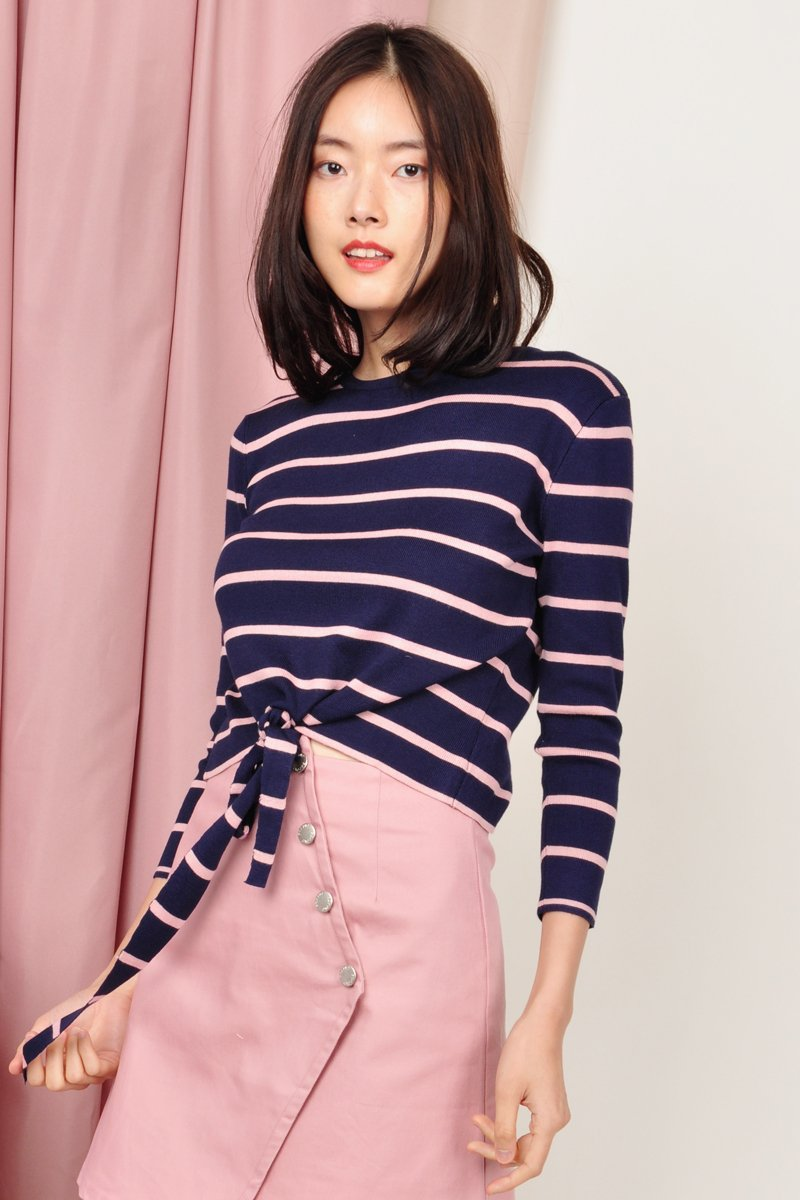Joseva Knit Front-Tie Top Midnight