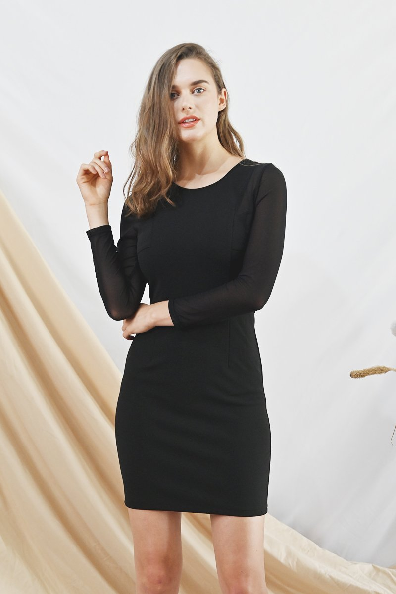Zuly Mesh Sleeves Dress Black
