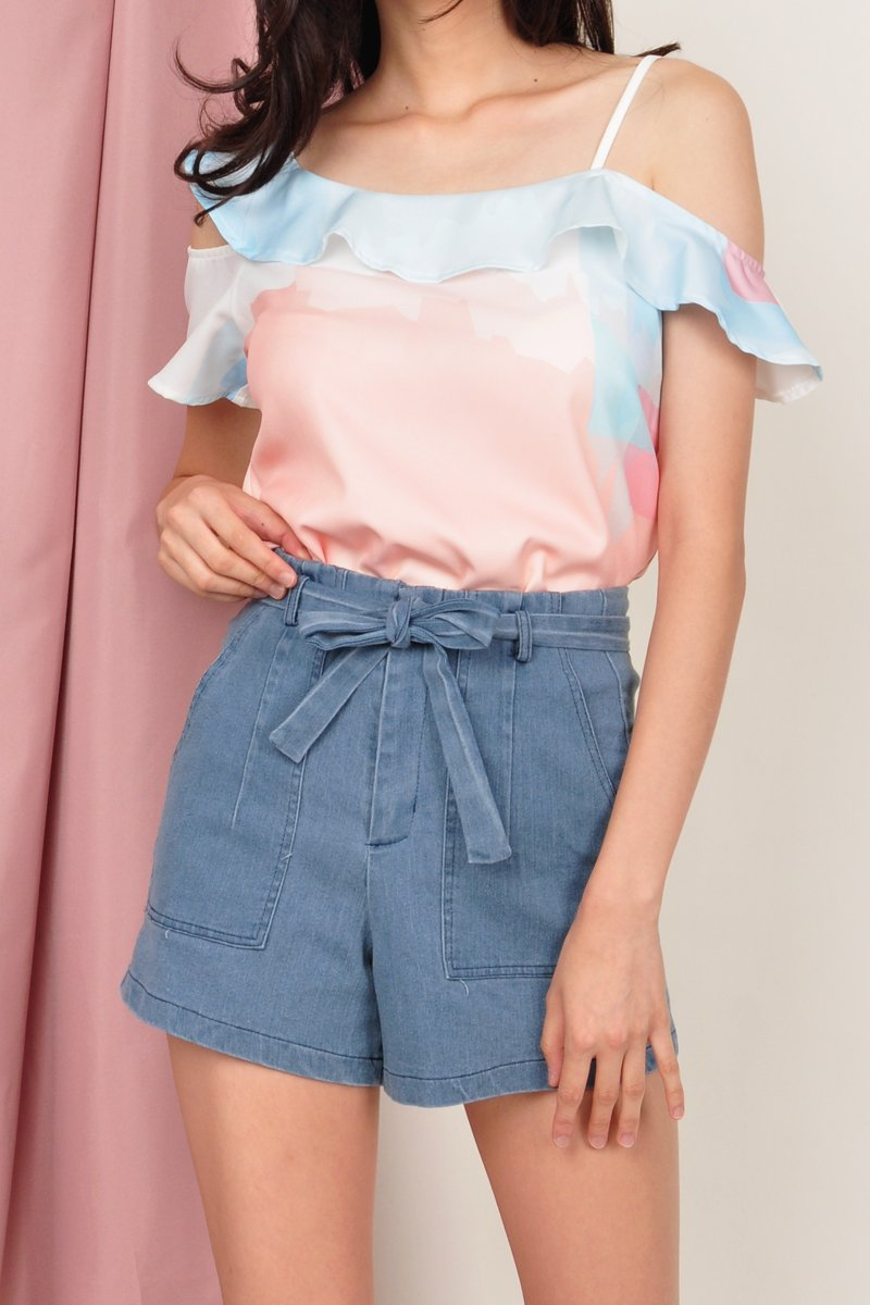 Litzy High Waist Denim Shorts Sky
