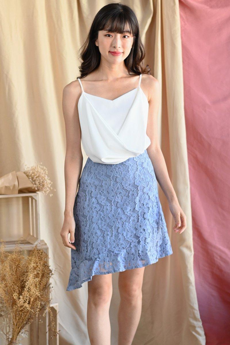 Eirene Asymmetrical Lace Skirt Sky