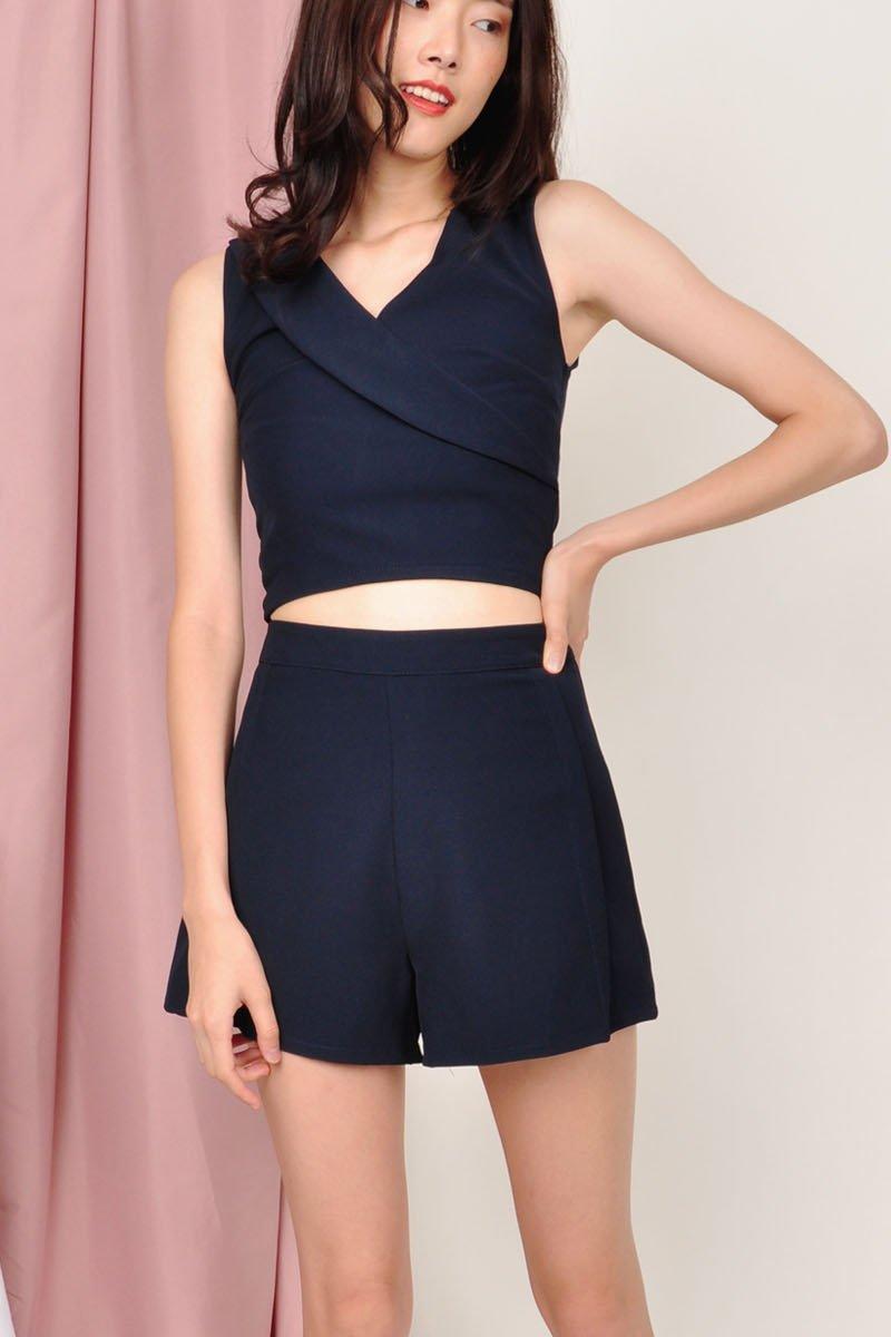 Margot Pleated Shorts Midnight
