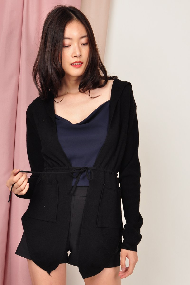 Tirsa Drawstring Knit Cardigan Black