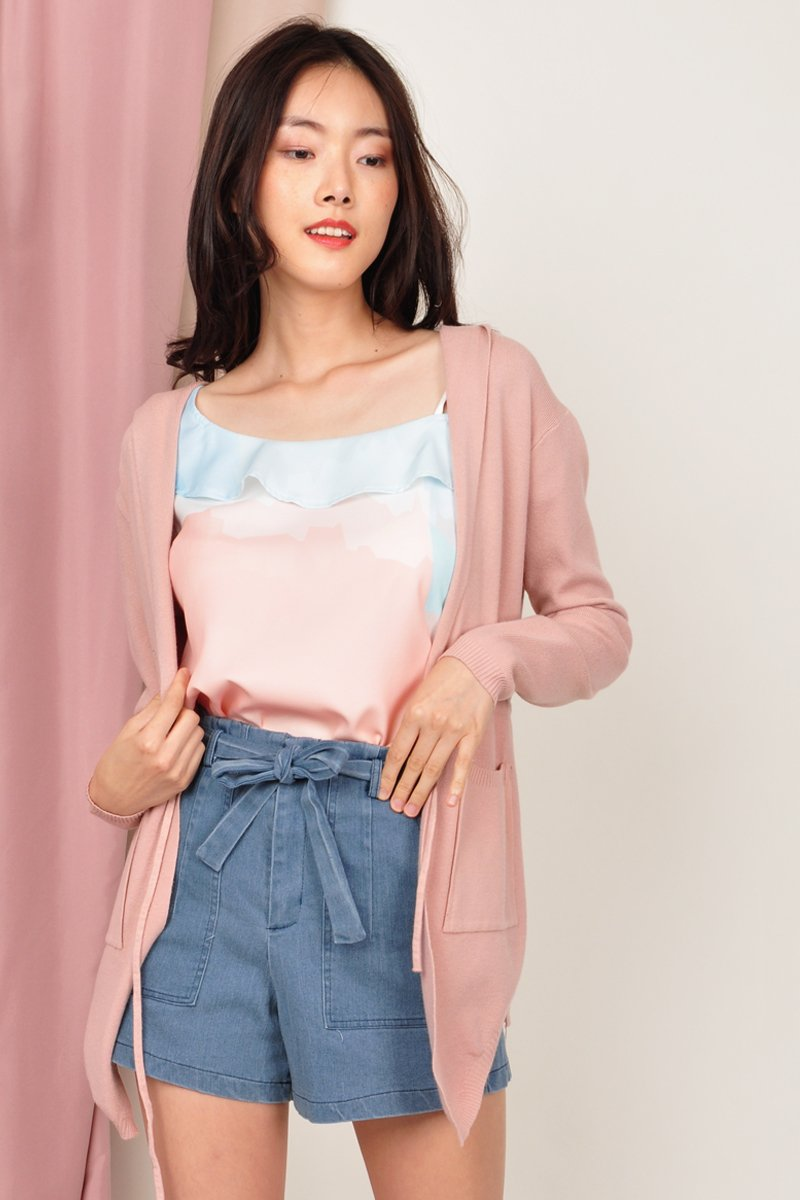 Tirsa Drawstring Knit Cardigan Blush