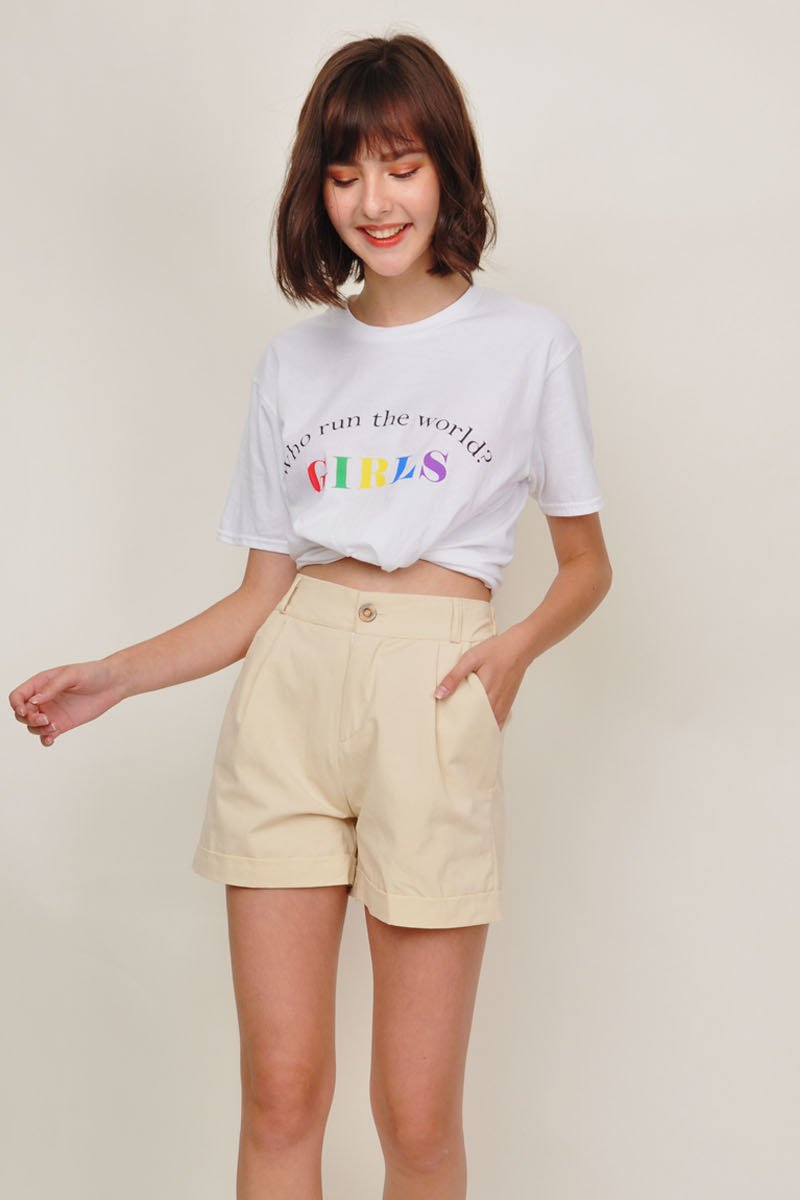 Laurie Pleated Cuffed Shorts Cream
