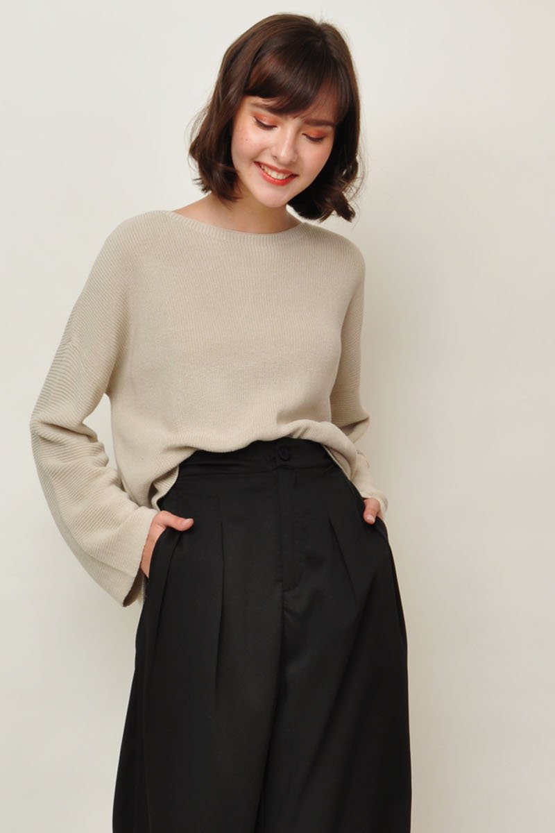 Halle Boat Neck Slouchy Sweater Sand