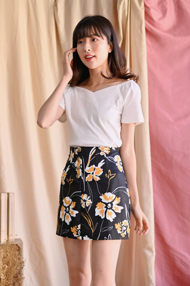 Beneste Floral Skirt Black
