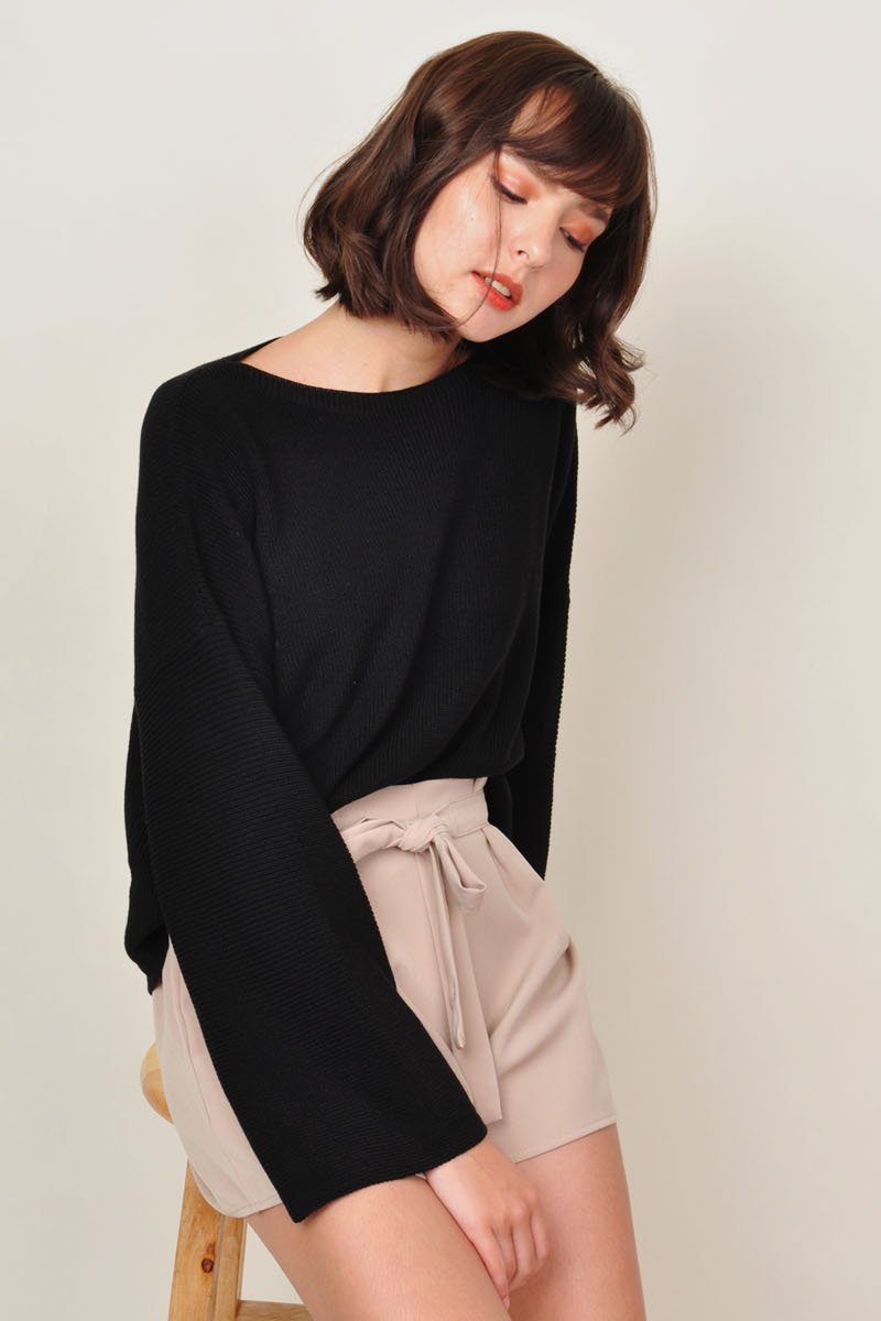 Halle Boat Neck Slouchy Sweater Black