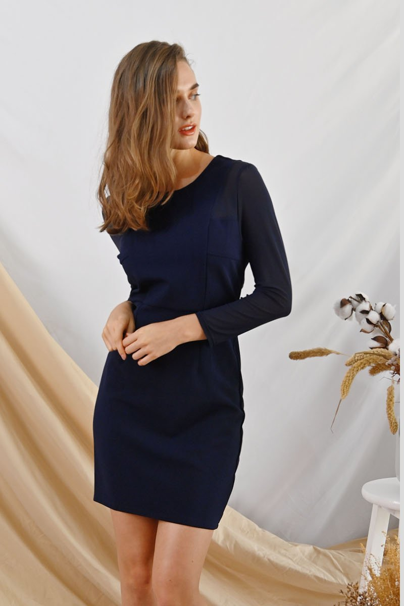 Zuly Mesh Sleeves Dress Midnight