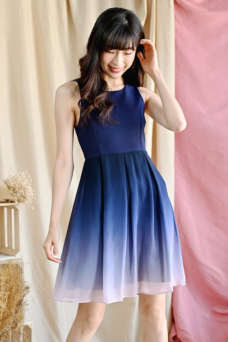 Micaela ombre skater dress midnight
