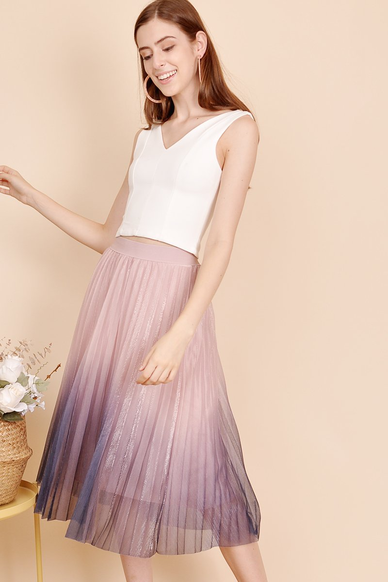 Avery Ombre Midi Skirt Babypink