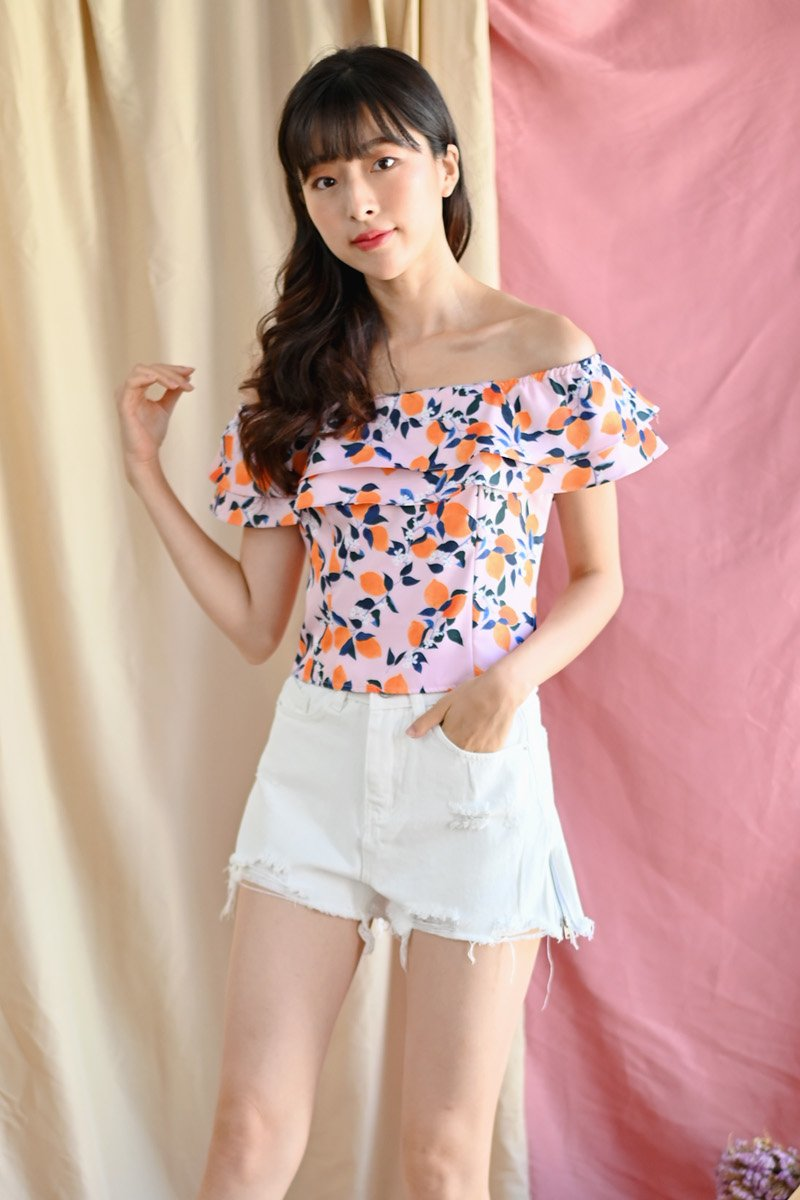 Alsie Citrus Off-Shoulder Top Blush