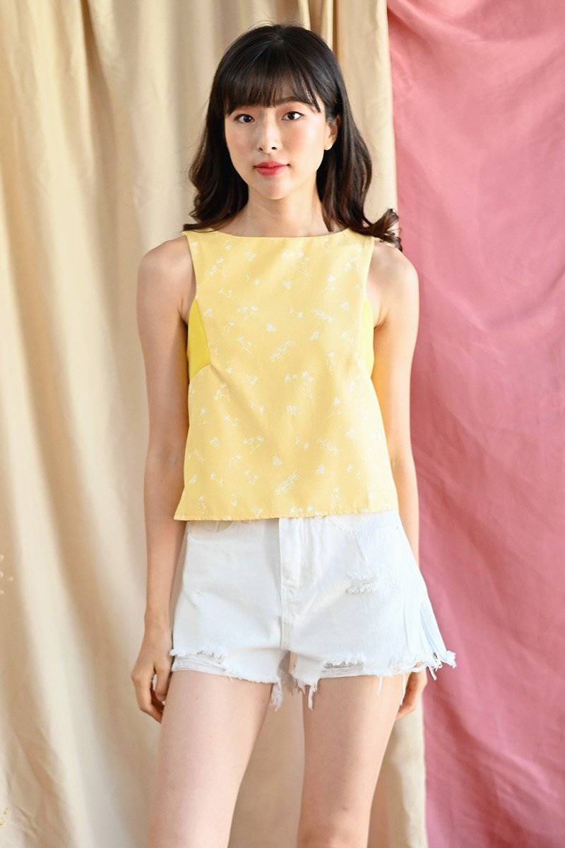Nephele Floral Shift Top Daffodil