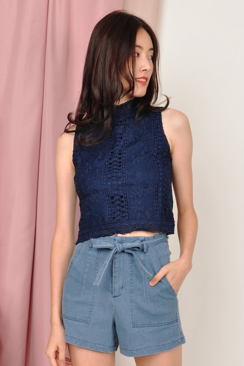 Ursa Mock Neck Lace Top Midnight